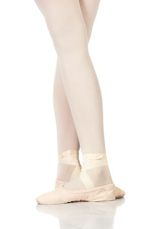Young female ballet dancer showing various classic ballet feet positions on a white background - Fifth position. NOT ISOLATED