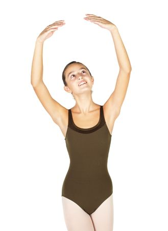 Young female ballet dancer showing various classic hand and arm positions on a white background - 5th position arm positions. NOT ISOLATED