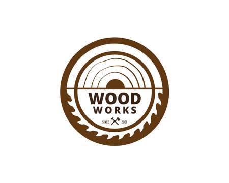 Illustration pour Wood Industries Company logo with the concept of saws and carpentry and classic and vintage style - image libre de droit