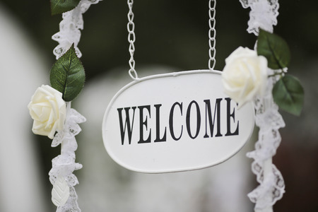 Photo for the event party or wedding reception, focus on welcome sign - Royalty Free Image