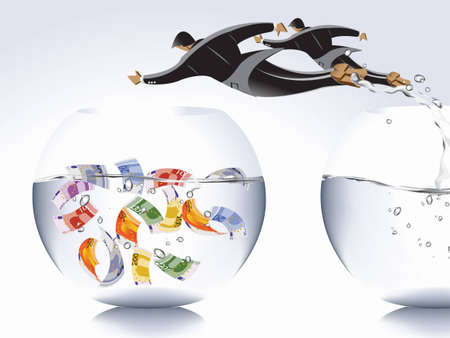 Business concept,  businessman jumping from empty bowl to another with money, catch the moments.