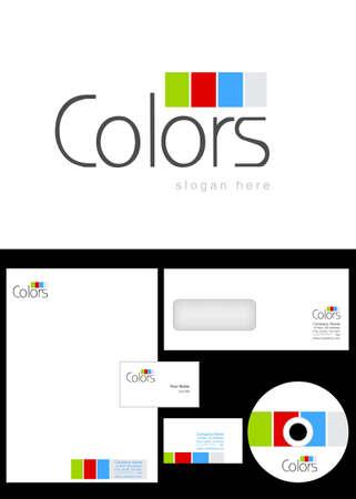 Foto de Colors Logo Design and corporate identity package including logo, letterhead, business card, envelope and cd label. - Imagen libre de derechos