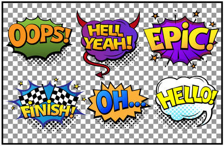 Illustration pour Comic speech bubbles set with different emotions and text Oops, Hell Yeah, Finish, Oh, Hello. Vector bright dynamic cartoon illustrations in retro pop art style isolated on transparent background. - image libre de droit