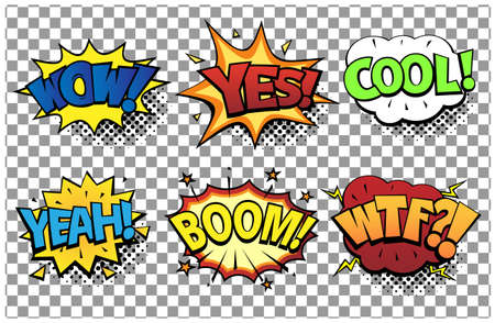 Ilustración de Comic speech bubbles set with different emotions and text Wow, Yes, Cool, Yeah, Boom, Wtf. Vector bright dynamic cartoon illustrations in retro pop art style isolated on transparent background. - Imagen libre de derechos