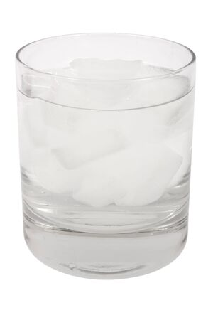 Glass with clear water and ice cubes isolated on white background