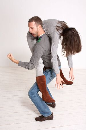 young couple piggyback indoor