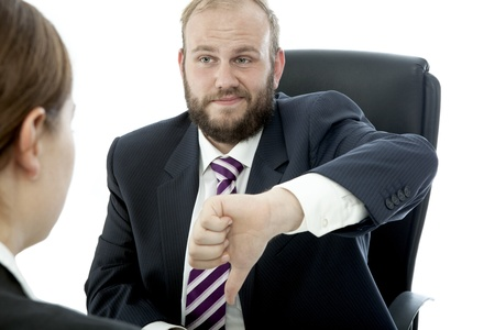 beard business man brunette woman at desk bad work
