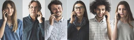 Photo pour People talking on mobile phone - image libre de droit