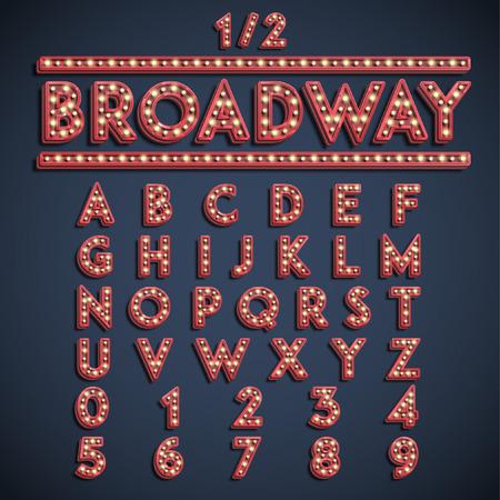 Broadway font set, vector