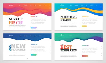 Illustration for Clean and modern website template, vector illustration - Royalty Free Image