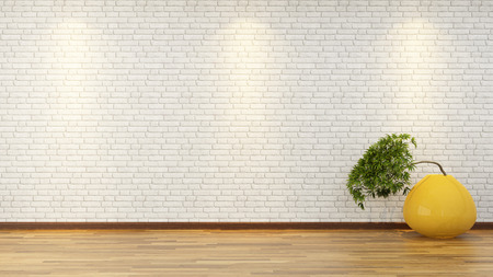 Photo for bonsai tree in the yellow vase front white brick wall - Royalty Free Image