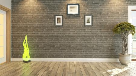 Foto de room, salon or living room with brick wall plant - Imagen libre de derechos
