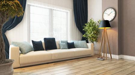 Foto de living room or saloon interior design with seat and curtain 3d rendering - Imagen libre de derechos