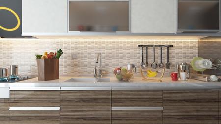 Photo pour kitchen design white ceramic with fresh fruit and kitchen machines - image libre de droit