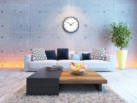 Foto de living room or saloon interior design with under light wall 3d rendering - Imagen libre de derechos