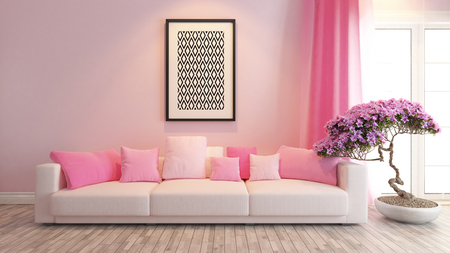 Photo pour modern pink interior design with pink seat and bonsai tree - image libre de droit
