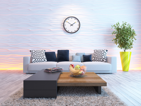 living room or saloon interior design with seat or sofa and wave wall 3d rendering