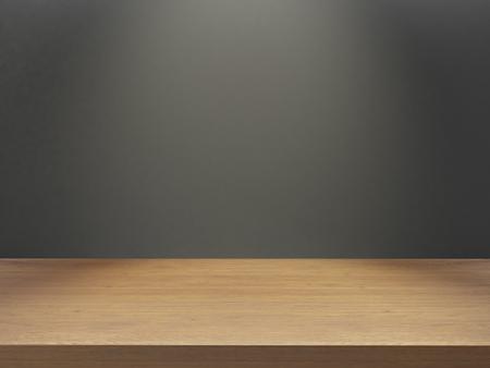 Foto de wooden empty desk mock up your product and design 3d render - Imagen libre de derechos