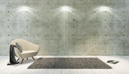 Photo pour concrete wall and white wooden parquet decor like loft style with single seat, background, template design rendering - image libre de droit