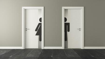 Foto de white restroom doors with wall 3D design and rendering for your project - Imagen libre de derechos