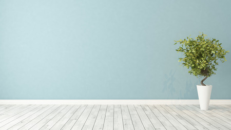 blue wall empty room with green plant in vase 3d rendering