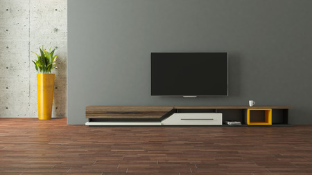 Photo pour modern tv stand design with wall in the room decoration idea 3d rendering  - image libre de droit