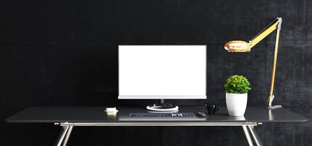Photo pour Work space stand mock up with table and plant, computer, keyboard, mouse; cup; sticker, table lamp front black concrete wall 3D rendering - image libre de droit