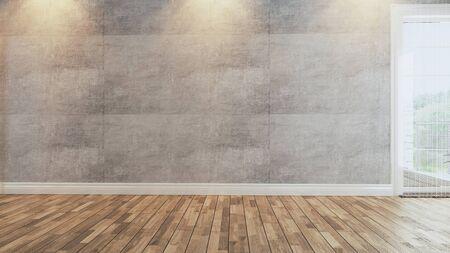 Photo pour living room with concrete wall, spot light and wooden floor interior design 3d rendering  - image libre de droit