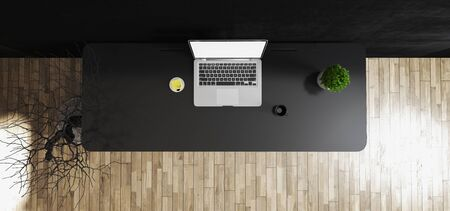 Photo pour Work space stand mock up with black table and plant, laptop, cup; sticker top view concrete wall 3D rendering - image libre de droit
