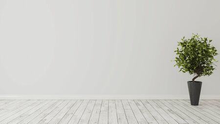 Foto de empty room with green plant in black vase and white wooden floor realistic 3d rendering - Imagen libre de derechos
