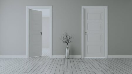 Photo for Grey wall with white opened door and closed door, white wooden floor, chrome vase and dry plant realistic 3D rendering - Royalty Free Image