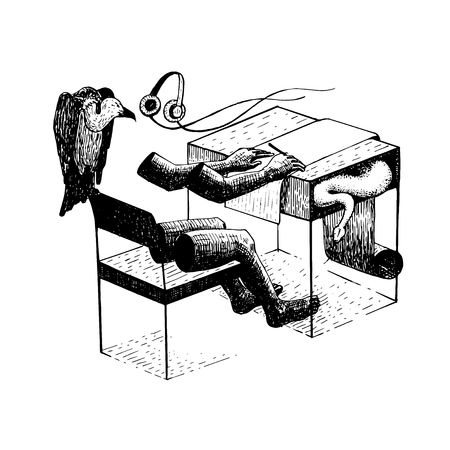 People sitting working desk. There are vultures with snakes around them. Symbols of exploitation of colleagues. vector illustration hand drawing.