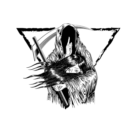 Illustration pour Grim Reaper, Human  Wearing A Hood, Isolated On color Background, Vector illustration. woman hold with the ghost. to die. tattoo design. hand drawing and digital. line art design. triangle border. - image libre de droit