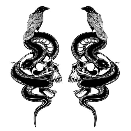 Illustration pour skull raven crow and snake vector illustration. tattoo design. inking black work. hand draw. for t-shirt, card, logo, and wallpaper. - image libre de droit