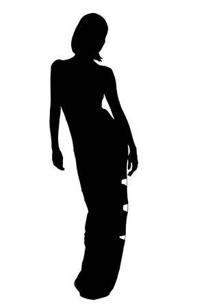 silhouette of woman in evening dress