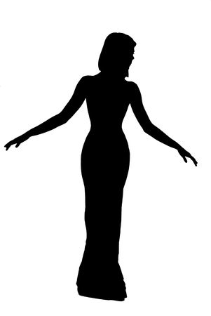 silhouette of dancing woman in evening dress