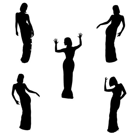 silhouettes of women, five poses on white