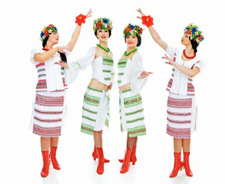 four dancing ukrainian young women on white