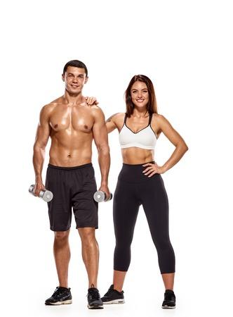 Foto de Workout people with dumbbells - Imagen libre de derechos