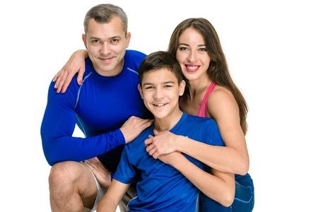 Foto für Happy sporty family portrait on white background - Lizenzfreies Bild