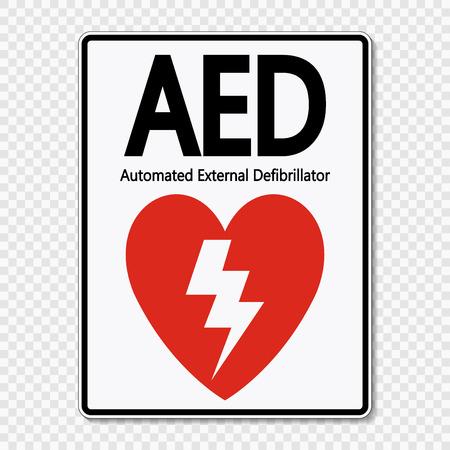 Illustration pour Symbol AED Sign label on transparent background - image libre de droit
