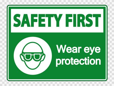 Illustration pour Safety first Wear eye protection on transparent background - image libre de droit