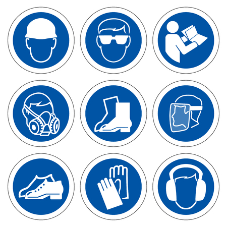 Illustration for Required Personal Protective Equipment (PPE) Symbol,Safety Icon,Vector illustration  - Royalty Free Image
