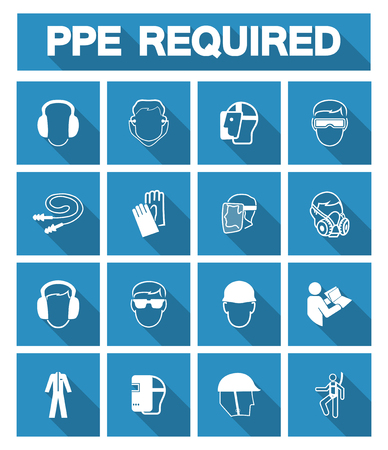 Illustration pour Required Personal Protective Equipment (PPE) Symbol,Safety Icon - image libre de droit
