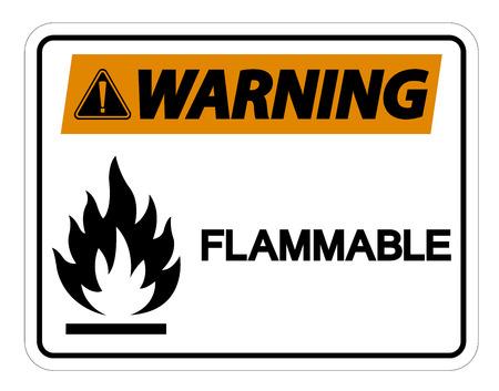 Illustration pour Warning Flammable Symbol Sign on white background,Vector Illustration - image libre de droit
