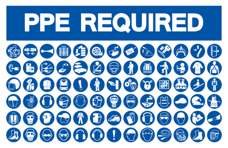 Illustration pour Required Personal Protective Equipment (PPE) Symbol,Safety Icon,Vector Illustration - image libre de droit