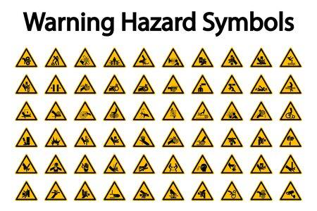 Illustration pour Triangular Warning Hazard Symbols labels On White Background - image libre de droit