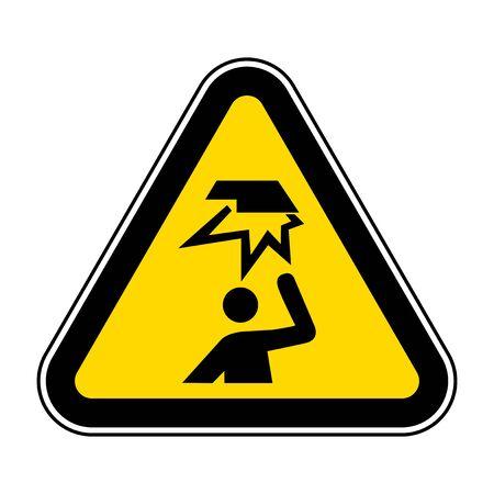 Illustration pour Beware Overhead Obstacles Symbol Isolate On White Background,Vector Illustration EPS.10 - image libre de droit