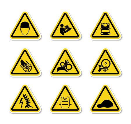 Illustration pour Triangular Warning Hazard Symbols labels Sign Isolate on White Background,Vector Illustration - image libre de droit