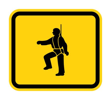 Illustration pour PPE Icon.Safety Harness Must Be Worn Symbols Sign Isolate On White Background, Vector Illustration - image libre de droit